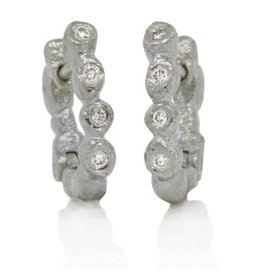 Rona Fisher E14034 Palladium Little Pebble Hinged Hoops