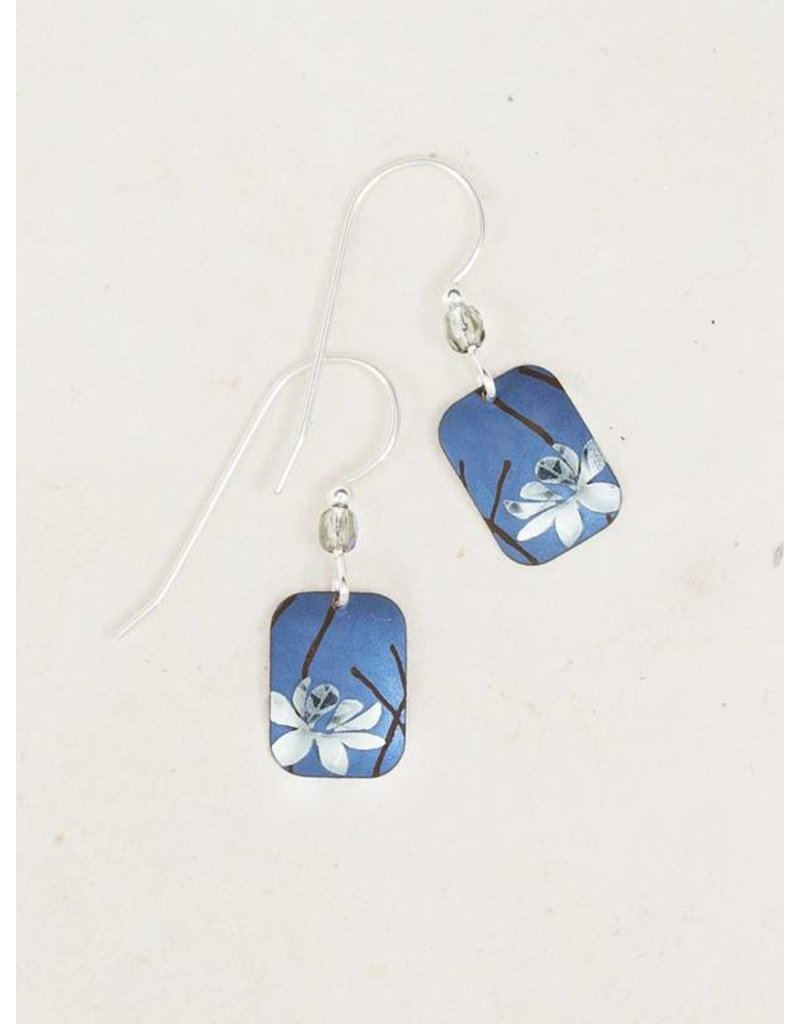 Holly Yashi Blue/Silver Blooming Lotus Earrings