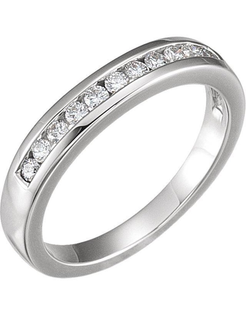 14K White Gold .20 ct Channel Set Diamond Band