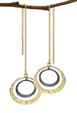 Toby Pomeroy Sterling Silver/14K Yellow Gold Petite Eclipse Lunar Threaders