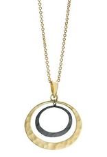 "Toby Pomeroy Sterling Silver/14K Yellow Gold 18"" Petite Eclipse Lunar Pendant"