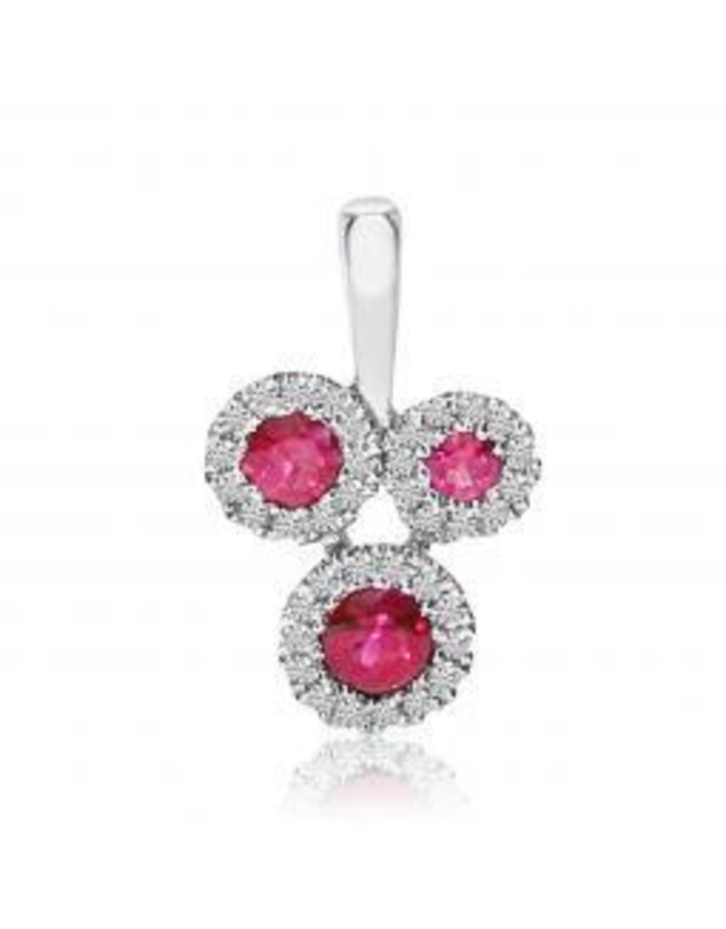 14K White Gold .20ct Ruby and .07ct Diamond Pendant