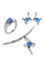 Frank Reubel Sterling Silver Kashmir Topaz and White Sapphire Earrings