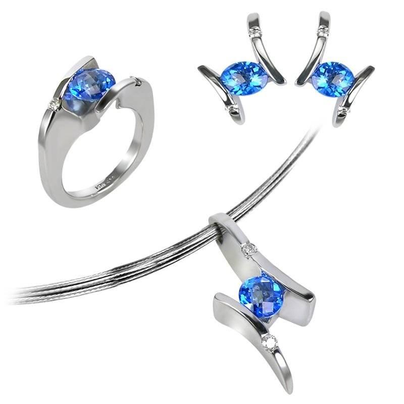 Frank Reubel Sterling Silver Kashmir Topaz and White Sapphire Pendant