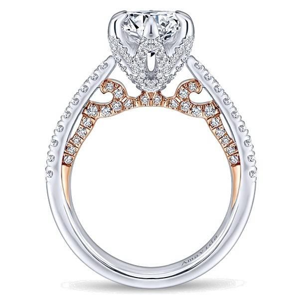 Amavida 18k White/Rose Gold Round Straight Engagement Ring