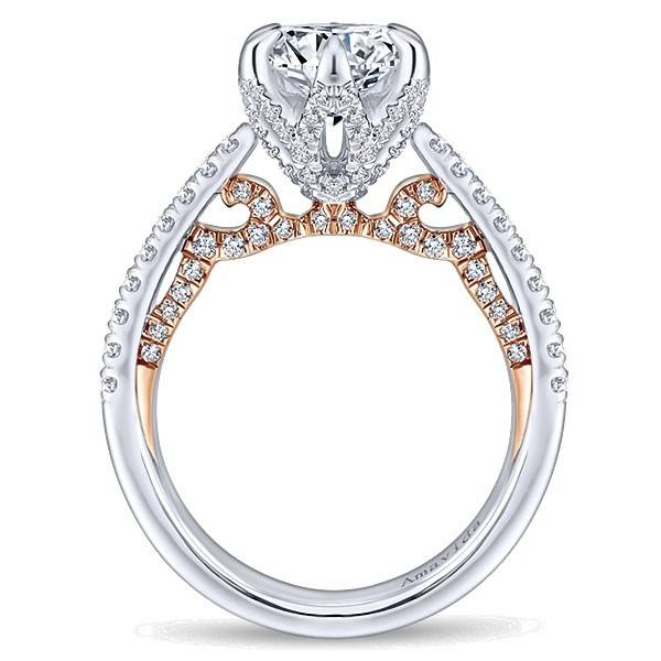Gabriel & Co. 18k White/Rose Gold Round Straight Engagement Ring