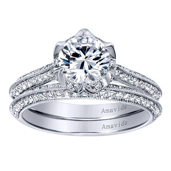 Gabriel & Co. Vintage 18k White Gold Round Straight  Engagement Ring