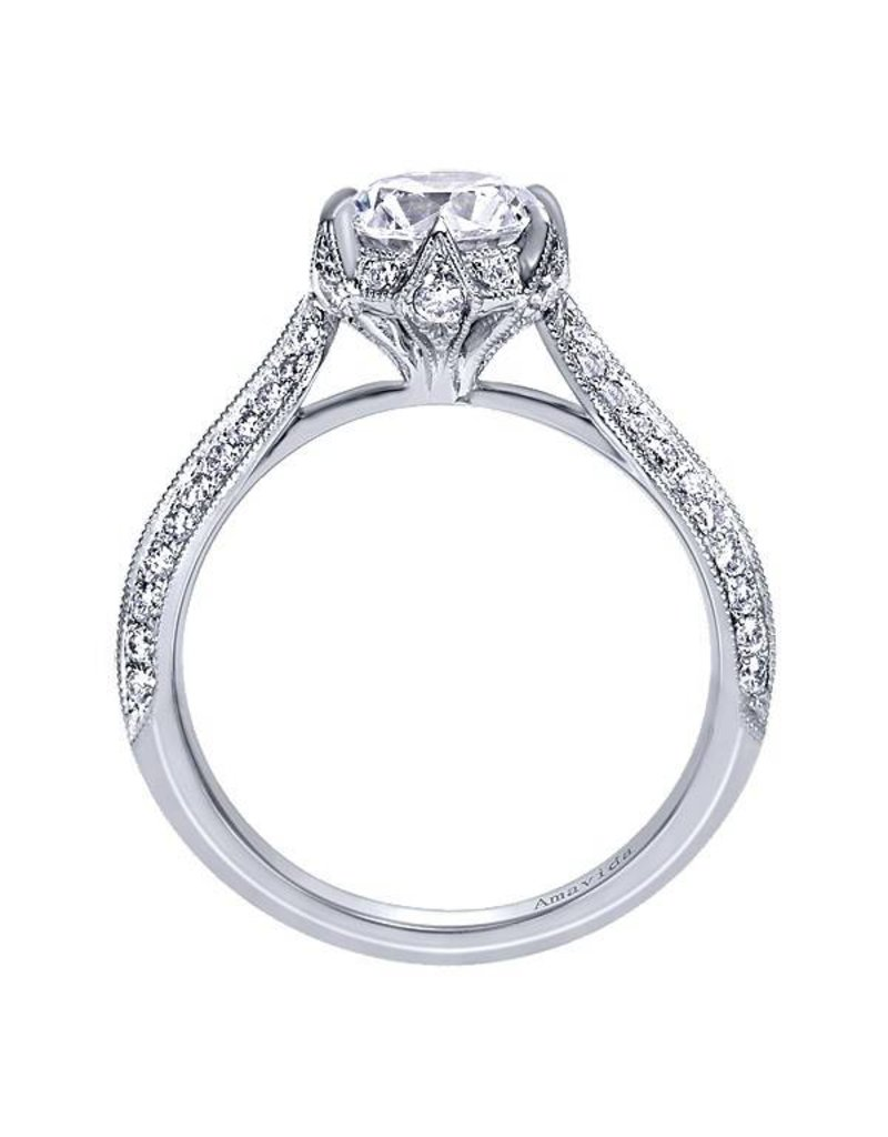 Gabriel & Co. Vintage 18k White Gold Round Straight  Engagement Ring