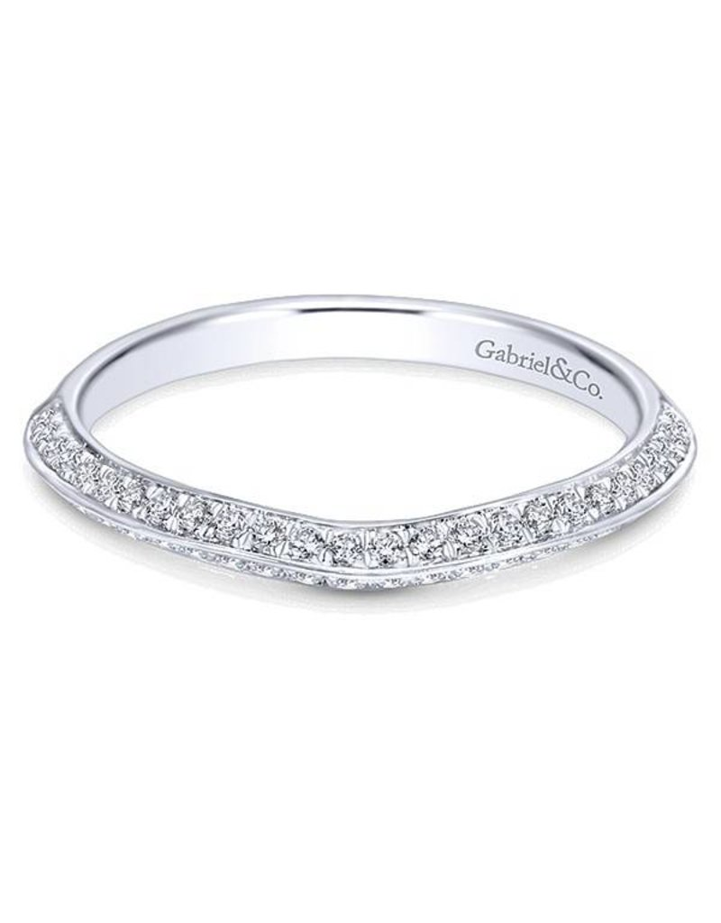 Gabriel & Co. 14k White Gold Curved Wedding Band