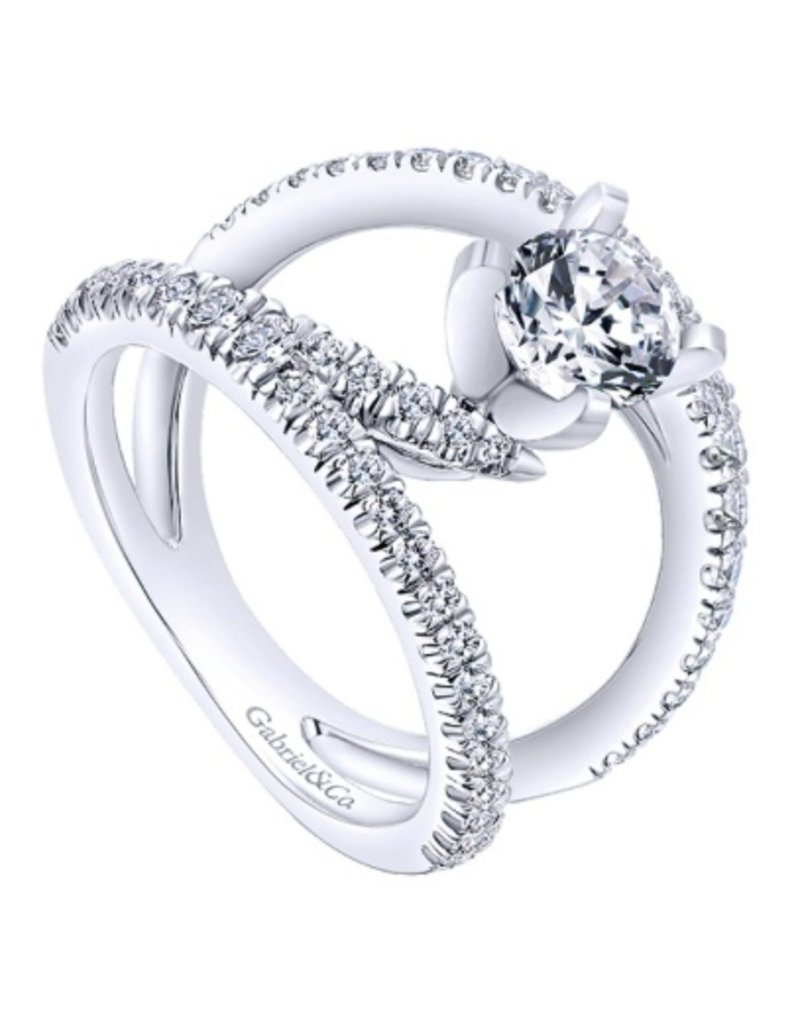 Gabriel & Co. 14k White Gold Round Split Shank  Engagement Ring