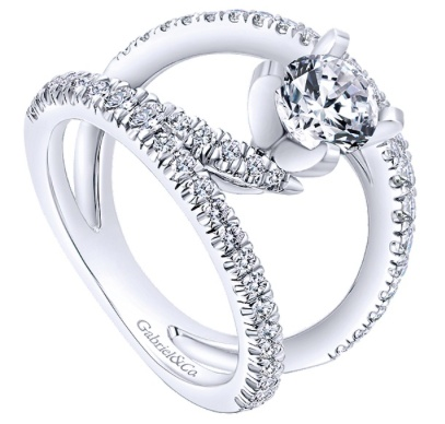 Gabriel & Co. 14k White Gold Round Split Shank  Engagement Ring
