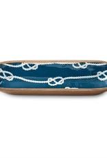 Mudpie Nautical Knot Wood & Enamel Long Bowl