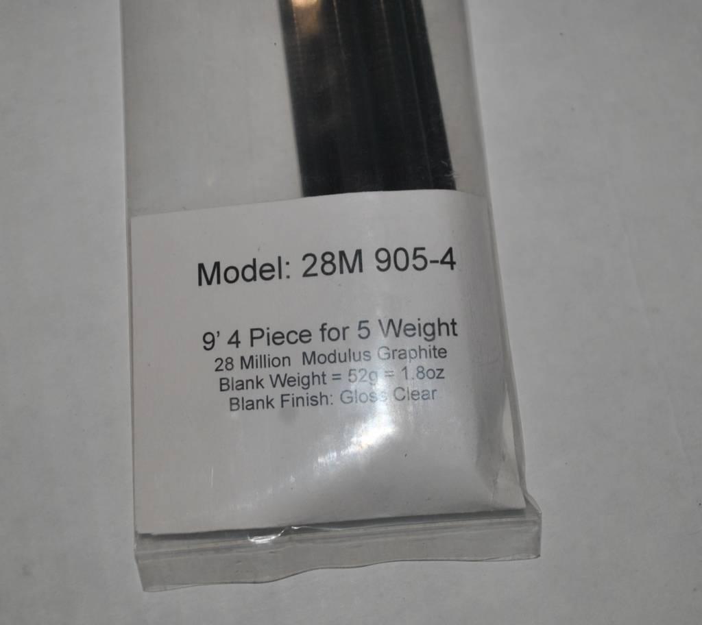 9 foot 4 piece 5 weight Fly Rod Blank 28 million Modulus Graphite  9528M