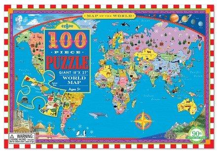 EeBoo World Map 100 pc Puzzle