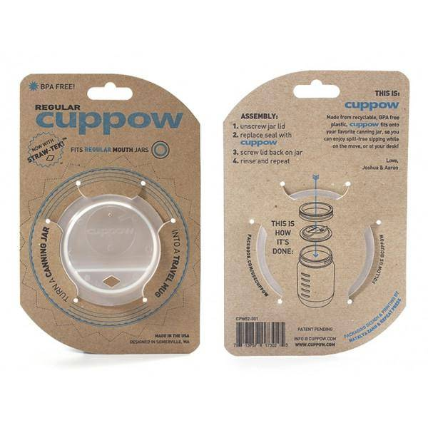 "Cuppow Clear Regular 2.5"" Cuppow with Straw Tek"