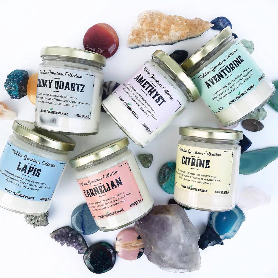 Fundy Treasures Fundy Treasure Hidden Gemstone  Collection Candle