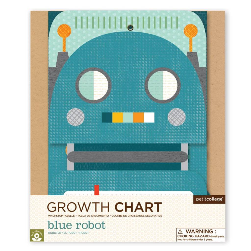 Petit Collage Blue Robot Folding Growth Chart