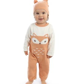 Silkberry Baby Fox Sweater Romper with Easy Dressing Zipper – Snow/Apricot