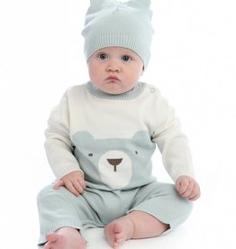 Silkberry Baby Bear Sweater Romper with Easy Dressing Zipper – Snow/Harbour