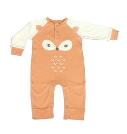 Silkberry Baby Organic Cotton Long Sleeve Romper with Ears Apricot/Snow (fox)