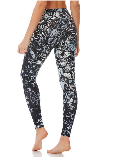 Peony Butterfly Print Compression Leggings
