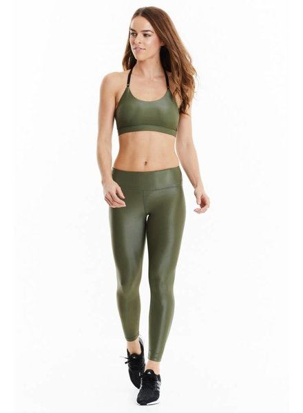 XO Active Rogue 7/8 Wetlook Olive Leggings