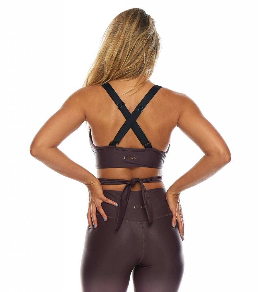 L'urv She Shimmers Wrap Crop Raisin