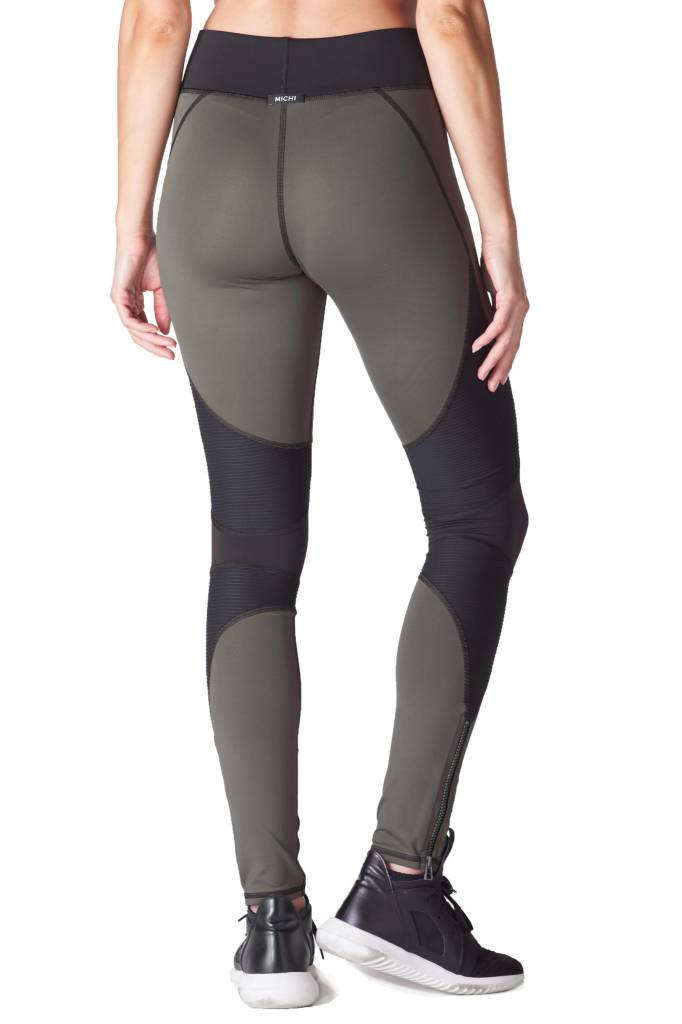 michi Moto Zip Legging Olive