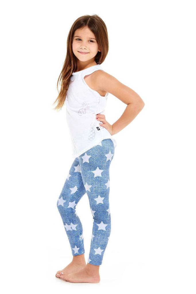 Terez White Denim Star Kids Legging