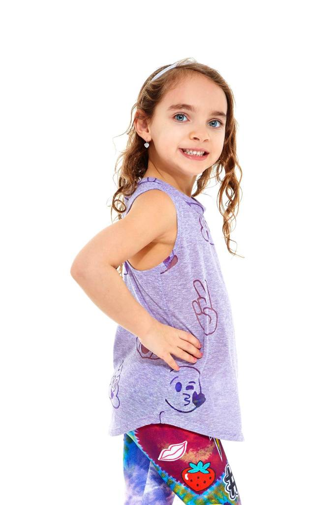 Terez Kids Purple Emoji Burnout Muscle Racerback