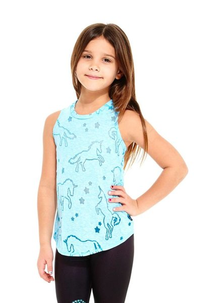 Terez Kids Blue Unicorn Burnout Racerback