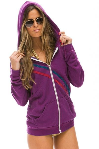 Aviator Nation Pray for Snow Zip Hoodie Berry