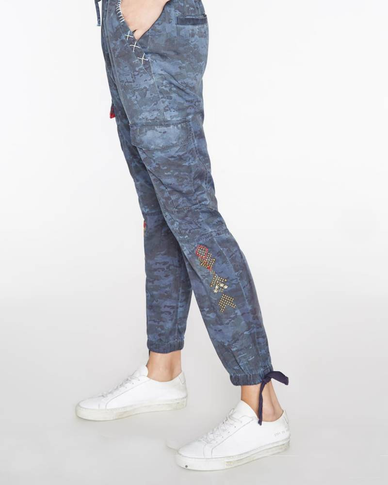 Pam and Gela Embellished Military Pant Blue Camo