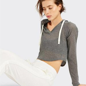 Splits59 Halfback Crop Hoodie Heather Grey