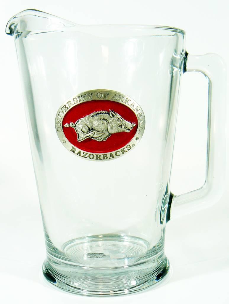 Arkansas Razorback Pewter Medallion Glass Pitcher The