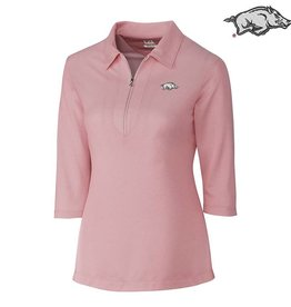Cutter & Buck CB Blaine Oxford 3/4 Sleeve Zip Polo