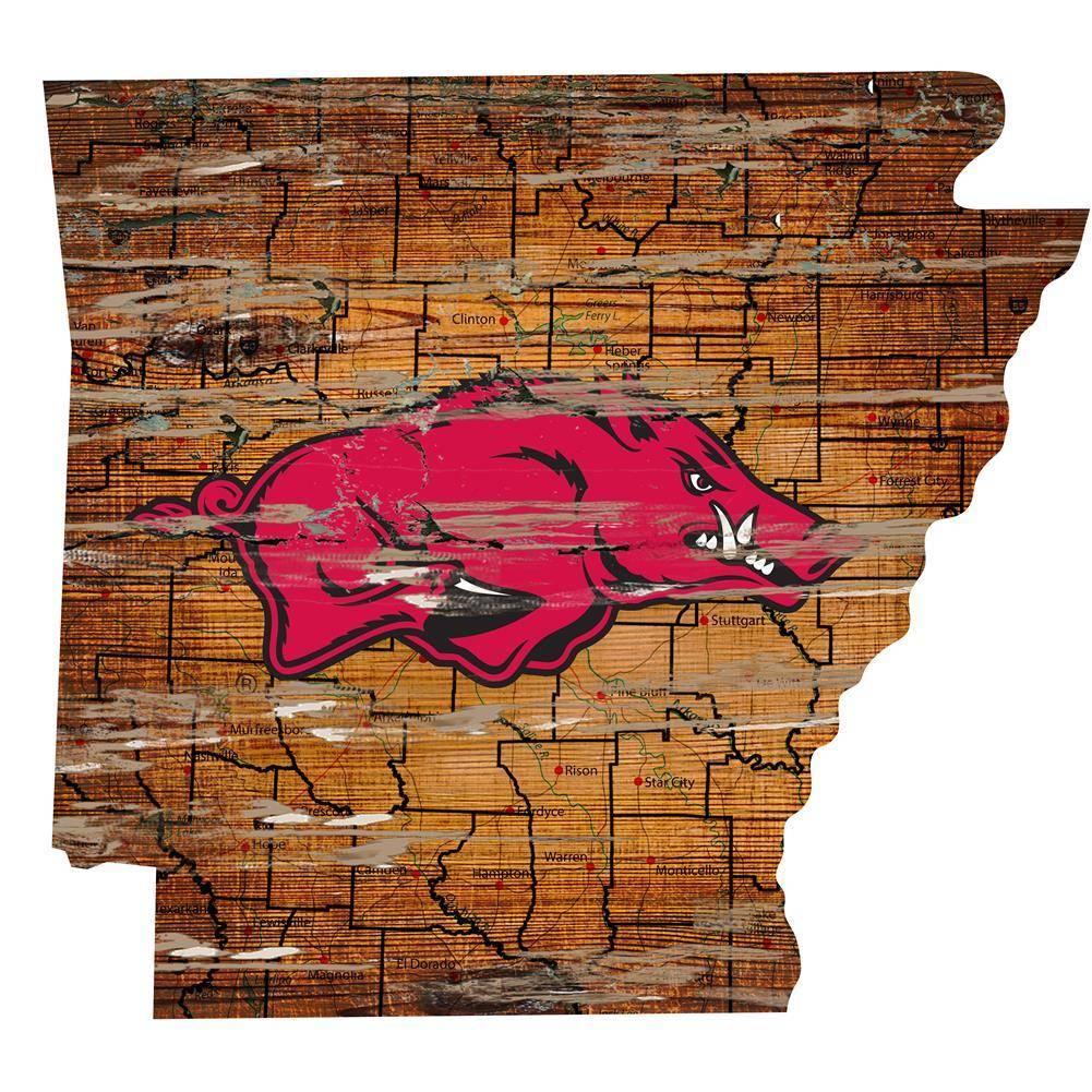 Arkansas Razorback State Map Wall Art Vintage Logo Signn