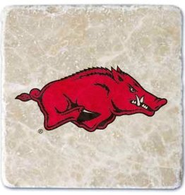 Arkansas Razorback Tumbled Italian Botticino Coaster Set 2 pk