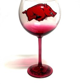 Boelter Razorback Colored Stem Wine Glass