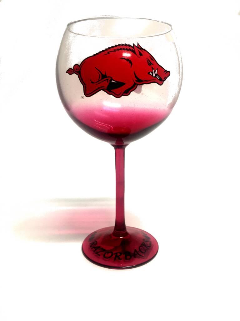 Arkansas Razorback Colored Stem Wine Glass The Stadium