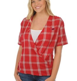 University Girls Arkansas Razorbacks Plaid Wrap Top