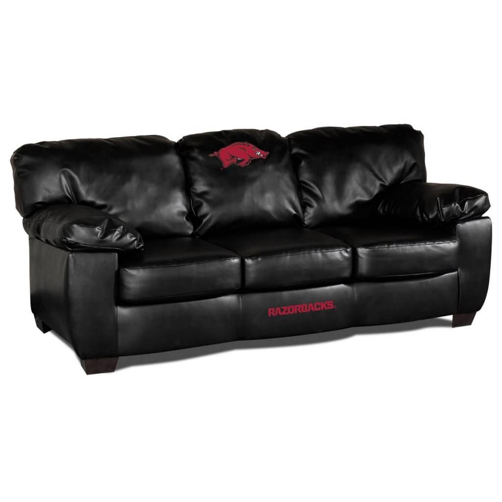 Arkansas Razorback Black Leather Sofa The Stadium Shoppe On  ~ Black Leather Sofa Chair
