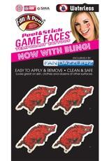 Game Faces Arkansas Razorback Glitter Bling Face Tattoo Fandazzlers