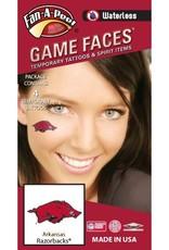 Game Faces Arkansas Razorback Waterless Face Tattoos 4PK