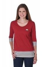 University Girls Women's Razorback Striped Colorblock Tee