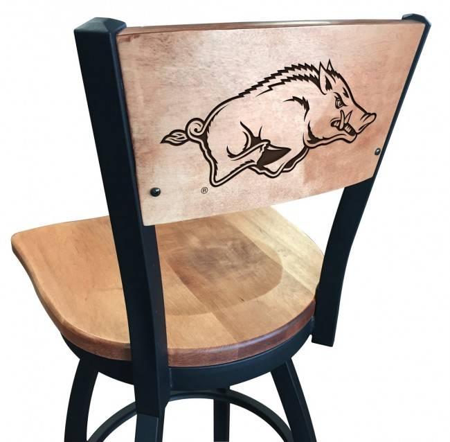 Holland Bar Stool Laser etched Razorback wood swivel stool