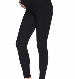 Opaque black cotton maternity leggings