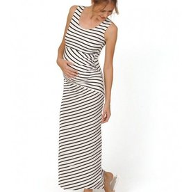 Peek-A-Boo Striped nursing maternity maxi dress