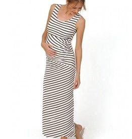 Peek-A-Boo Striped nursing maternity maxi dress