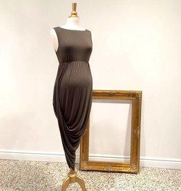 June & Dane Hi-Lo dress In Khaki